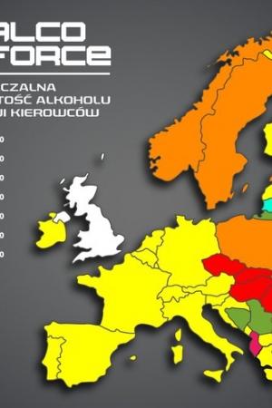 Dopuszczalne stężenie zawartości alkoholu we krwi w wybranych krajach Europy